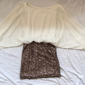White and Brown Sequence Dress